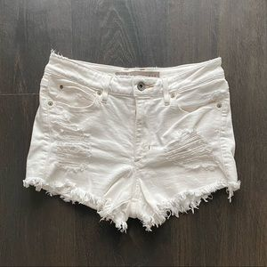 Distressed White Shorts from Guess